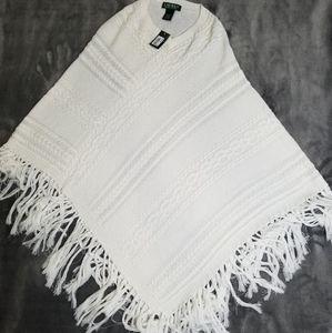 NWT Lauren Ralph Lauren Shawl Cape Cable Knit O/S